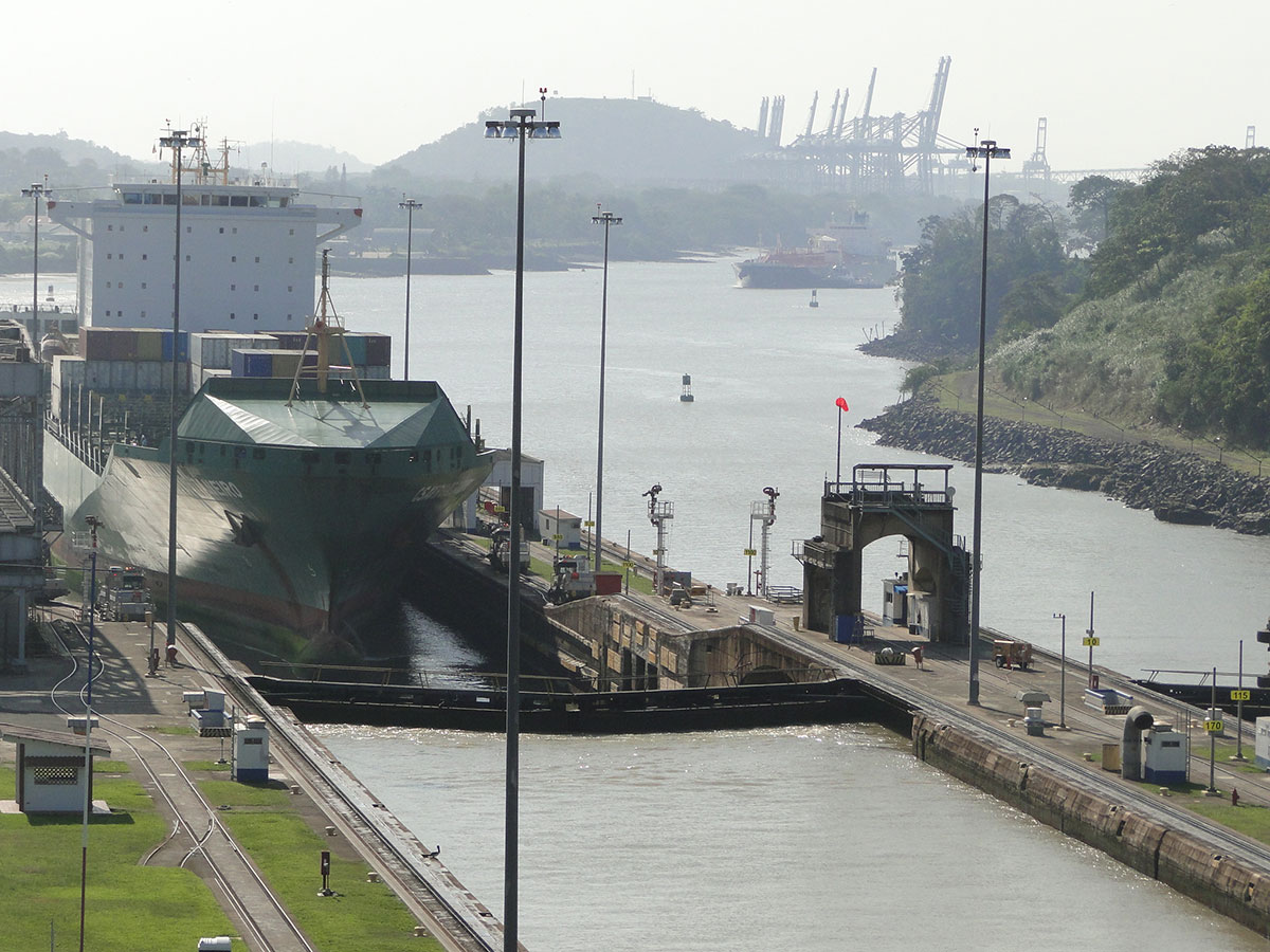 Boat crossing Panama Canal